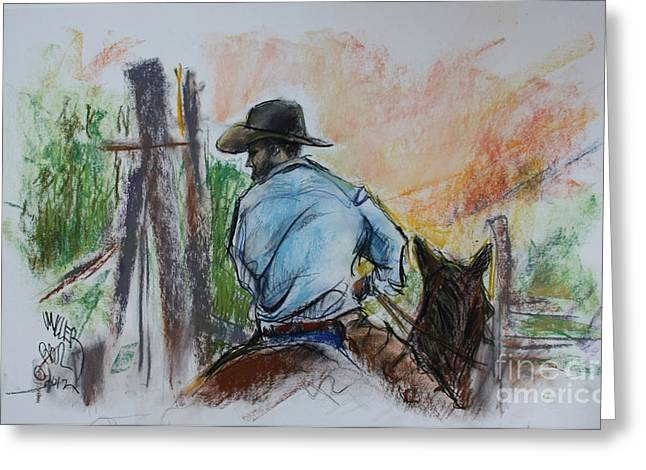 Triangle X Ranch Wrangler Jackson Hole Greeting Card by Paul Miller