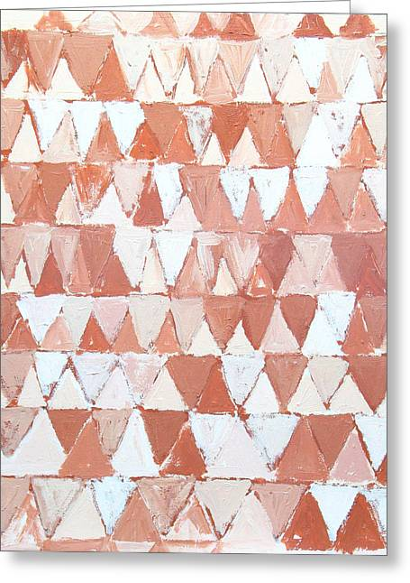 Triangular Sepia And White Waves Greeting Card by Kazuya Akimoto