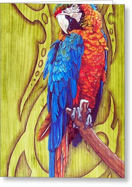 Tribal Macaw Greeting Card by Diana Shively