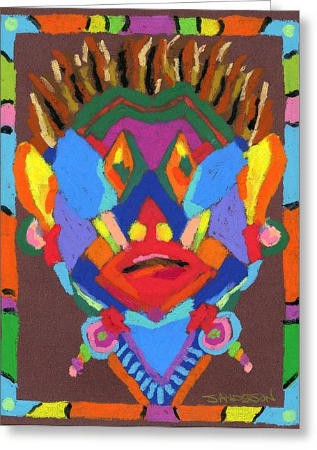 Tribal Mask Greeting Card by Stephen Anderson