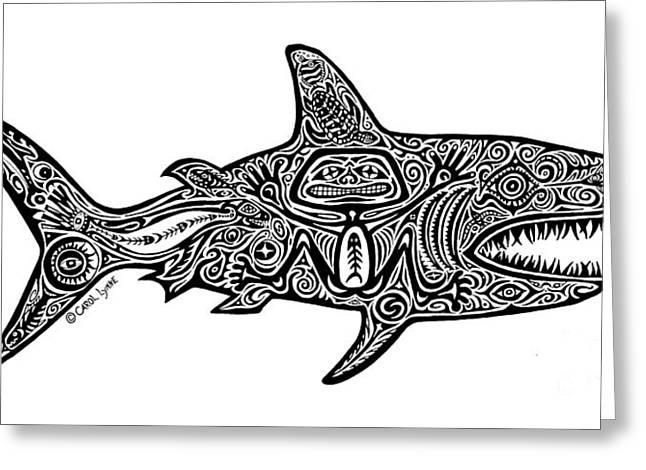 Tribal Shark Greeting Card by Carol Lynne