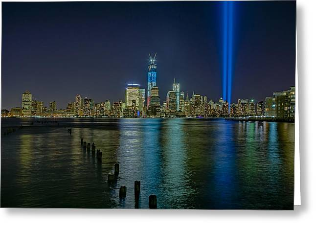 Tribute In Lights Greeting Card by Susan Candelario