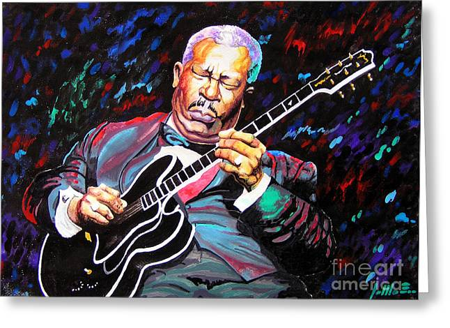 Tribute To Bb King Greeting Card by Jose Miguel Barrionuevo