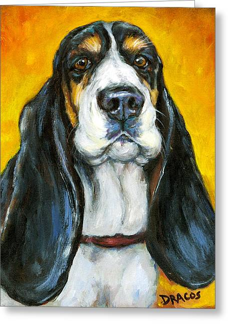 Tricolored Basset Hound On Gold Greeting Card by Dottie Dracos