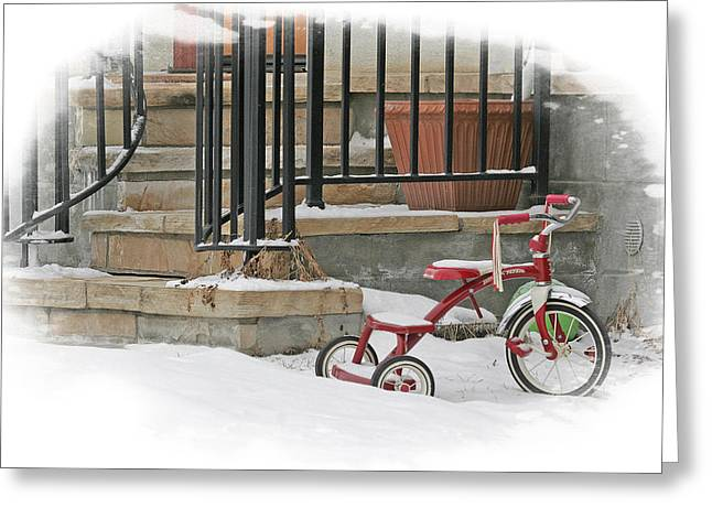 Tricycle Greeting Card by Judy Deist