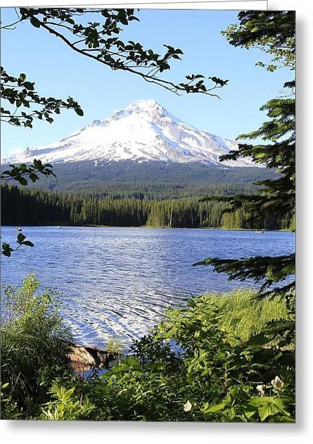 Trillium Lake At Mt. Hood Greeting Card by Athena Mckinzie