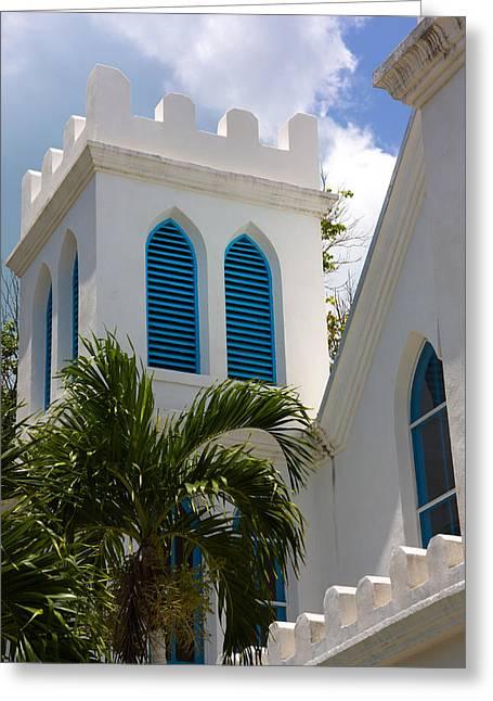Greeting Card featuring the photograph Trinity Presbyterian Church Tower by Ed Gleichman
