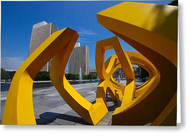 Greeting Card featuring the photograph Trio On The Plaza by John Schneider