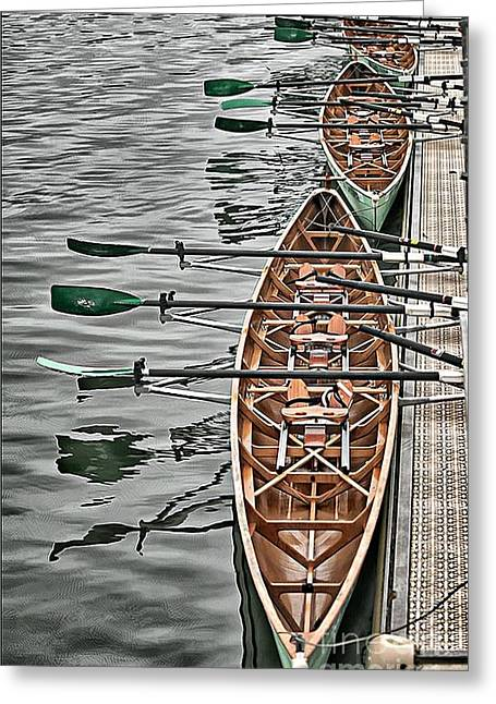 Greeting Card featuring the photograph Triple Sculls by Jack Torcello
