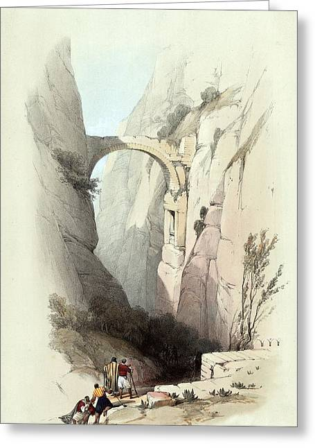 Triumphal Arch Across The Ravine Leading To Petra Greeting Card by Munir Alawi