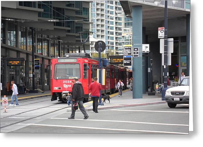 Trolley In San Diego Greeting Card by Val Oconnor