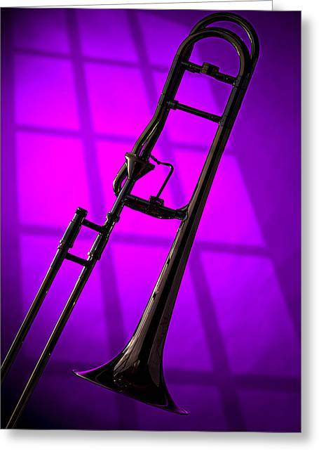 Trombone Silhouette On Purple Greeting Card by M K  Miller