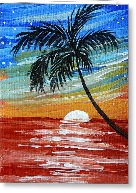 Tropical Abstract Palm Tree Original Plumeria Flower Painting Sinking Below By Madart Greeting Card by Megan Duncanson