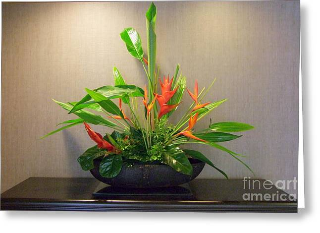 Tropical Arrangement Greeting Card by Mary Deal