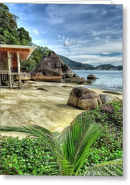 Tropical Beach Greeting Card by Adrian Evans