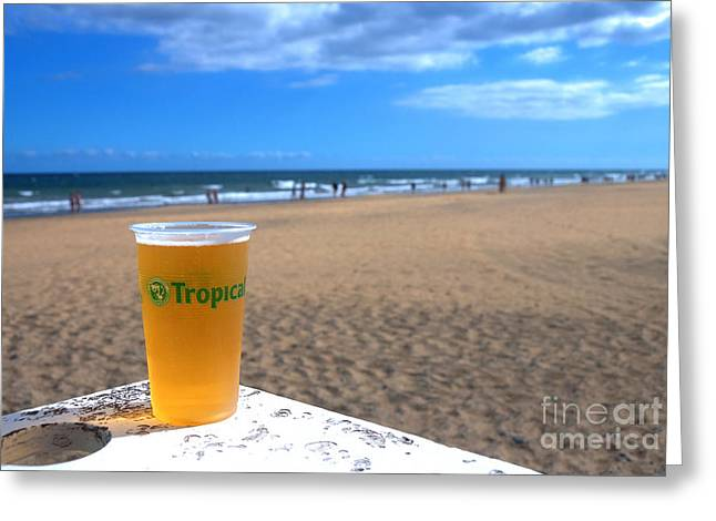 Tropical Beer On The Beach Greeting Card by Rob Hawkins