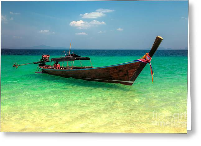 Tropical Boat Greeting Card by Adrian Evans