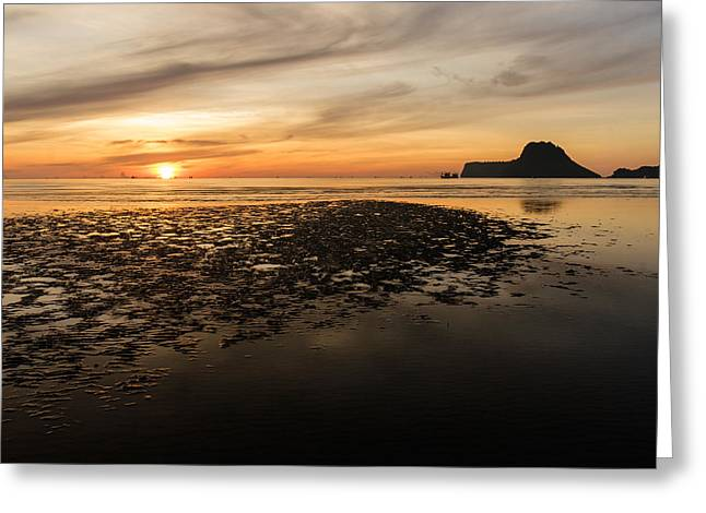 Tropical Colorful Sunset  Greeting Card by Panya Jampatong