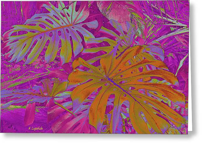 Greeting Card featuring the digital art Tropical Foliage - Pink by Kerri Ligatich