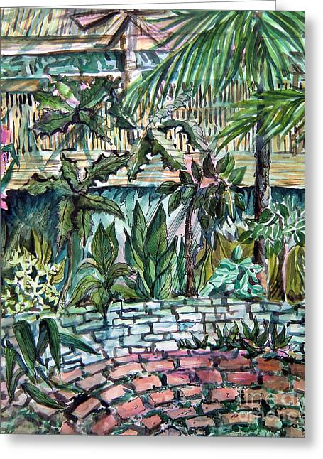 Tropical Garden Greeting Card by Mindy Newman