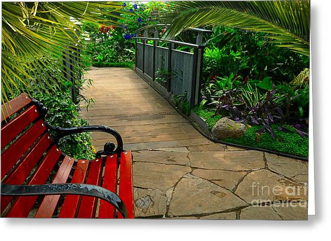 Tropical Garden Pathway Greeting Card