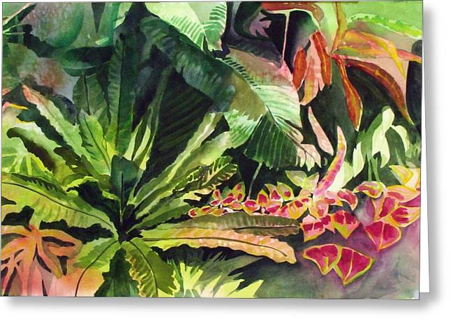 Greeting Card featuring the painting Tropical Garden by Richard Willows