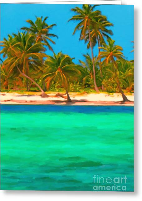 Tropical Island 5 - Painterly Greeting Card by Wingsdomain Art and Photography