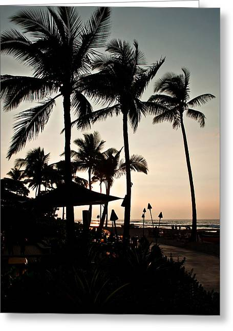 Greeting Card featuring the photograph Tropical Island Silhouette Beach Sunset by Valerie Garner