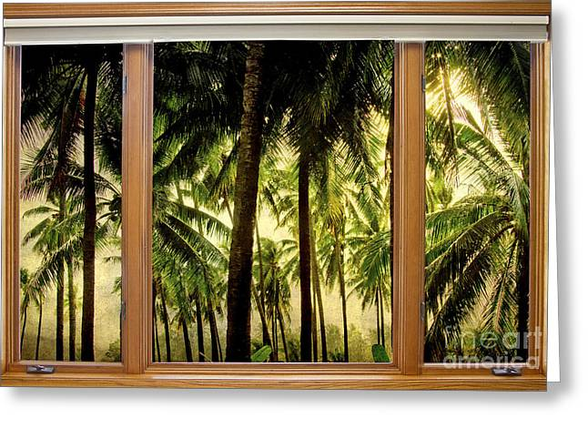 Tropical Jungle Paradise Window Scenic View Greeting Card by James BO  Insogna
