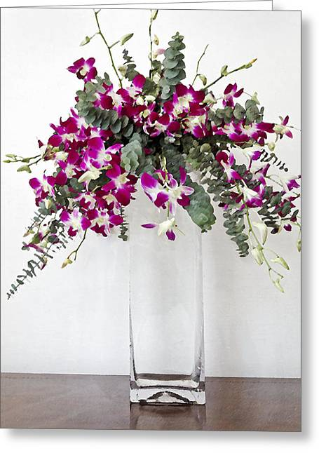 Tropical Pansies In A Square Vase Greeting Card by Kantilal Patel