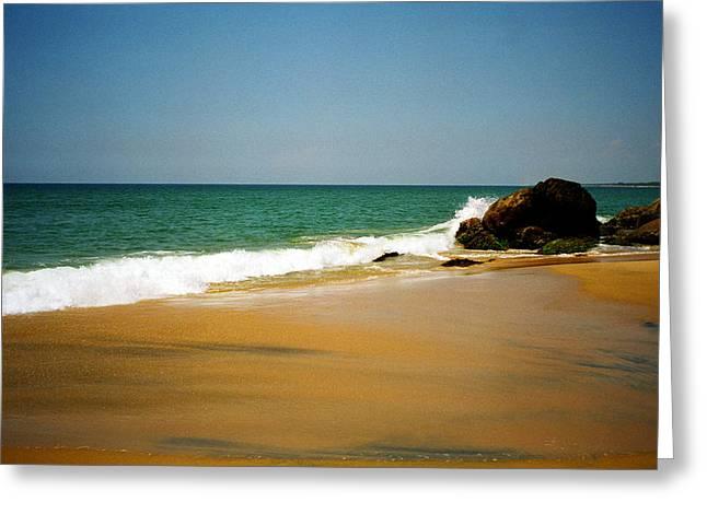 Tropical Sandy Beach Greeting Card by Jasna Buncic