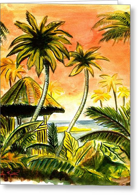 Tropical Skies Greeting Card by John Keaton