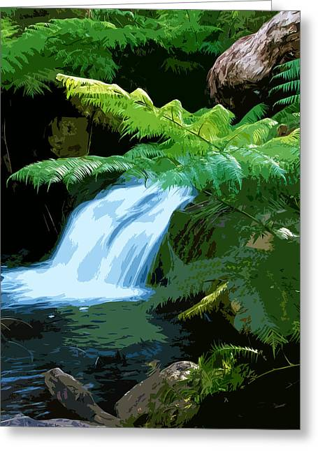 Tropical Stream Waterfall Greeting Card