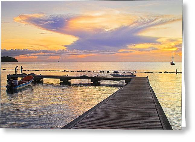 Tropical Sunset- 4- St Lucia Greeting Card by Chester Williams