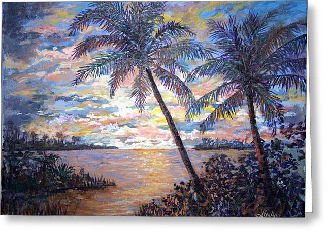 Greeting Card featuring the painting Tropical Sunset by Lou Ann Bagnall