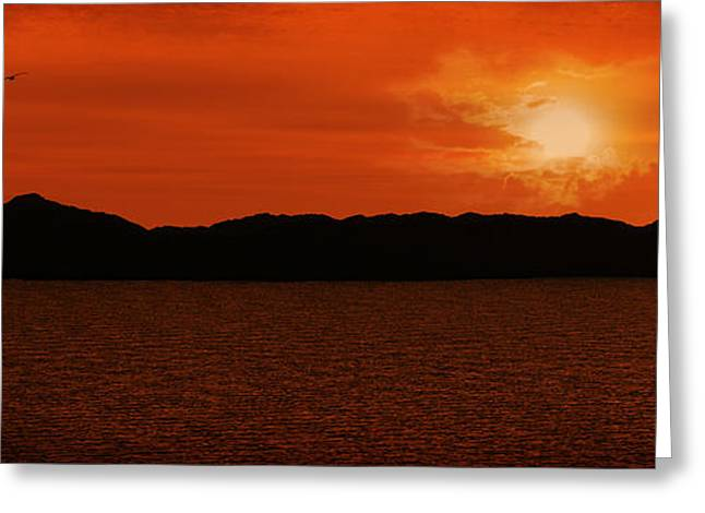 Tropical Sunset Greeting Card by Lourry Legarde