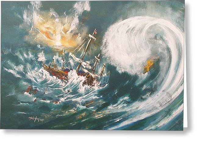 Trouble In The Ocean Greeting Card by Miroslaw  Chelchowski