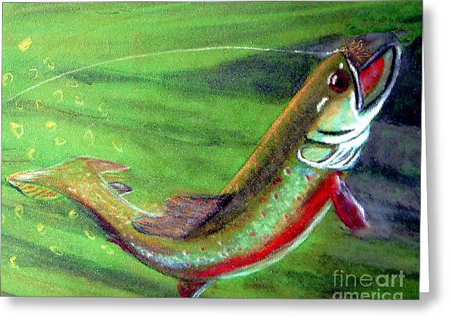 Trout On - Pastel Painting Greeting Card by Merton Allen