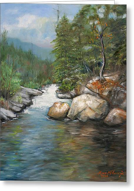 Trout Stream Greeting Card by Max Mckenzie