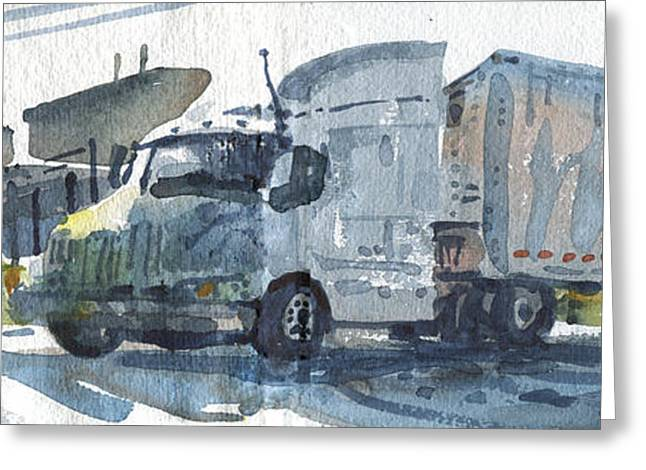Truck Panorama Greeting Card by Donald Maier
