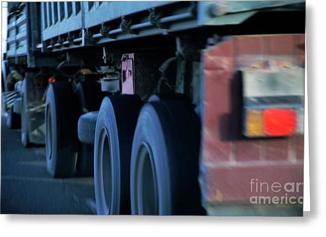 Truck Wheels On A Highway Greeting Card by Sami Sarkis