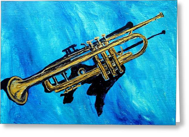 Greeting Card featuring the painting Trumpet by Amanda Dinan