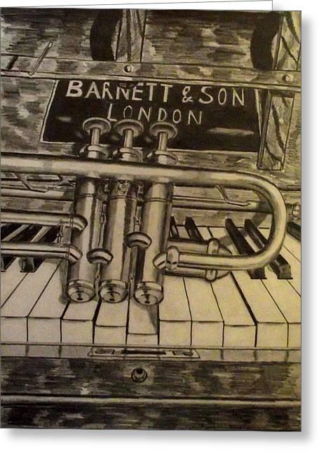 Trumpet On Piano Greeting Card by John  Nolan