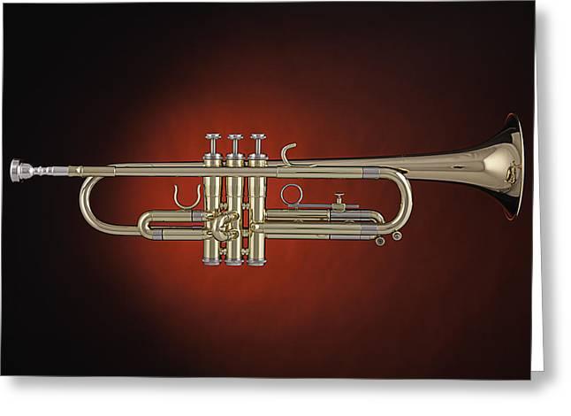 Trumpet Red Spotlight  Greeting Card