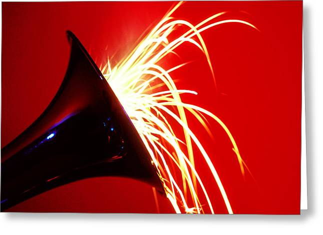 Trumpet Shooting Sparks Greeting Card by Garry Gay