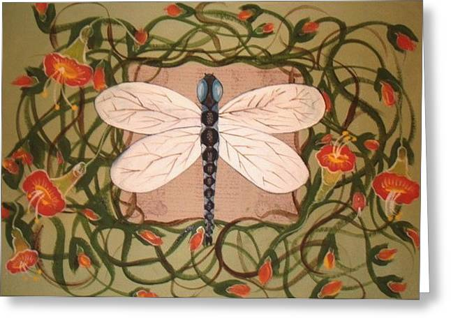 Greeting Card featuring the painting Trumpet Vine With Dragonfly by Cindy Micklos
