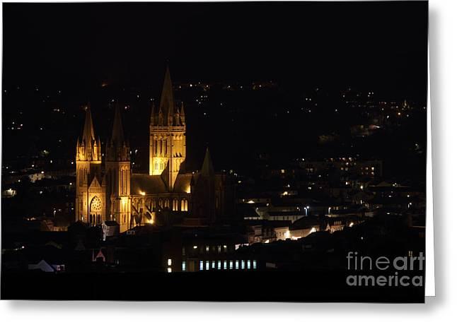 Truro Cathedral Illuminated Greeting Card by Brian Roscorla