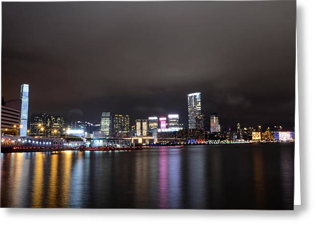 Tsim Sha Tsui - Kowloon At Night Greeting Card by Enrique Rueda