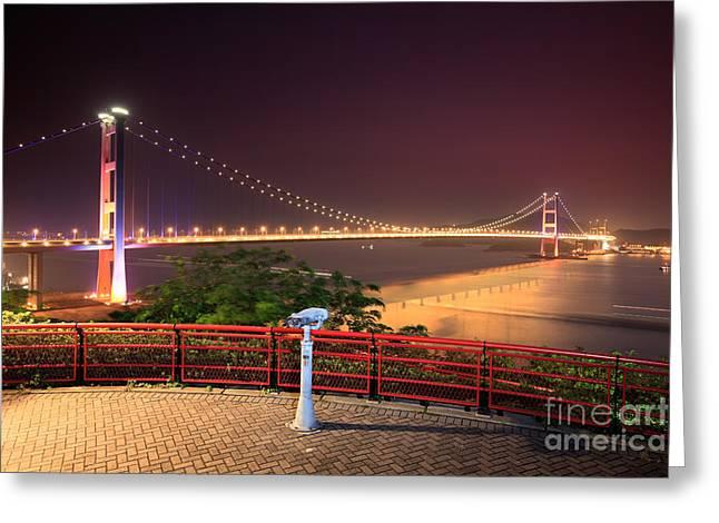 Tsing Ma Bridge Greeting Card by MotHaiBaPhoto Prints