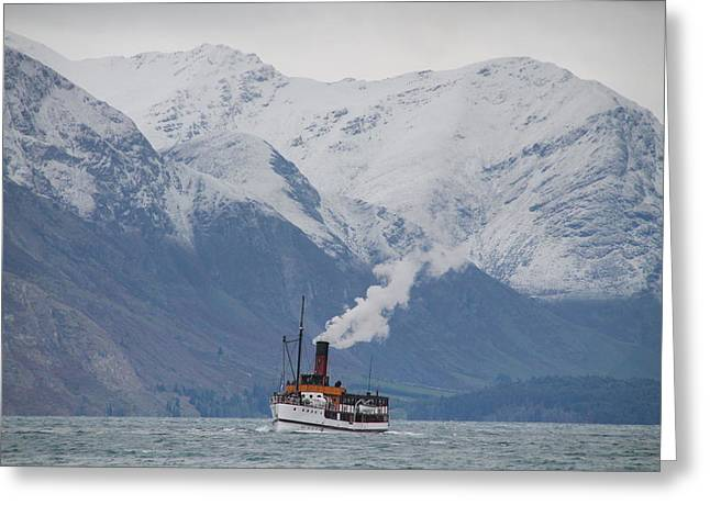 Tss Earnslaw Steamboat Against The Southern Alps Greeting Card
